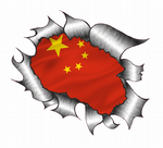 Ripped Torn Metal Design With China Chinese Flag Motif External Vinyl Car Sticker 105x130mm